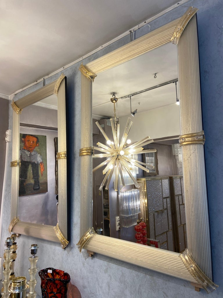 Art Deco Pair of Golden Murano Glass Mirrors, circa 2000 For Sale