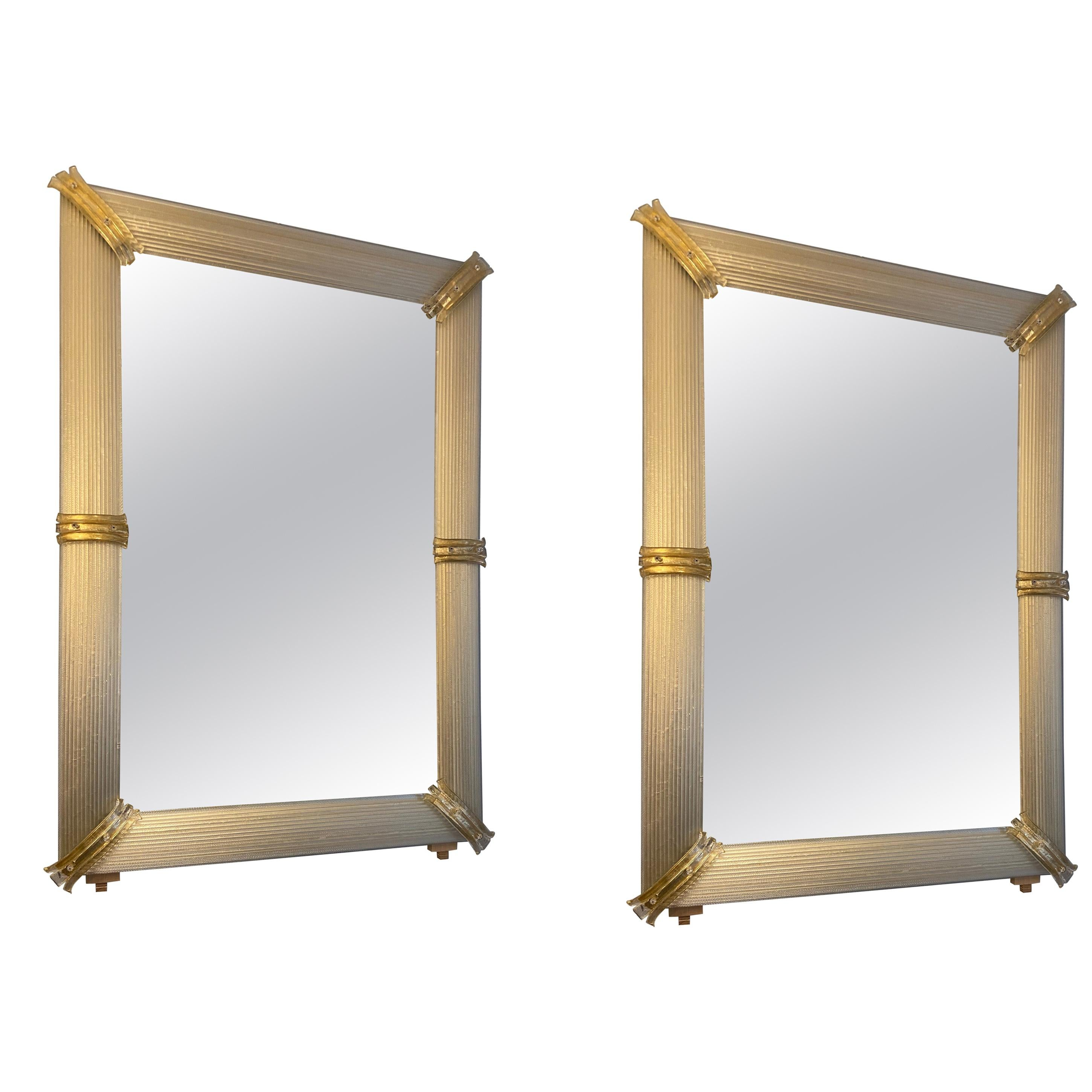 Pair of Golden Murano Glass Mirrors, circa 2000