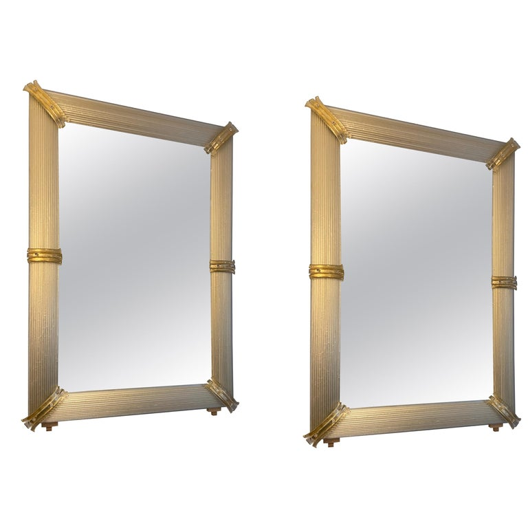 Pair of Golden Murano Glass Mirrors, circa 2000 For Sale