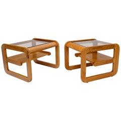 Pair of Golden Oak Floating Shelf Glass Top Side Coffee Tables
