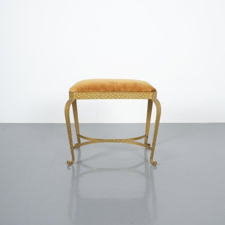 Pair of Golden Pier Luigi Colli Iron Bedroom Benches, Italy, 1950 For Sale 3