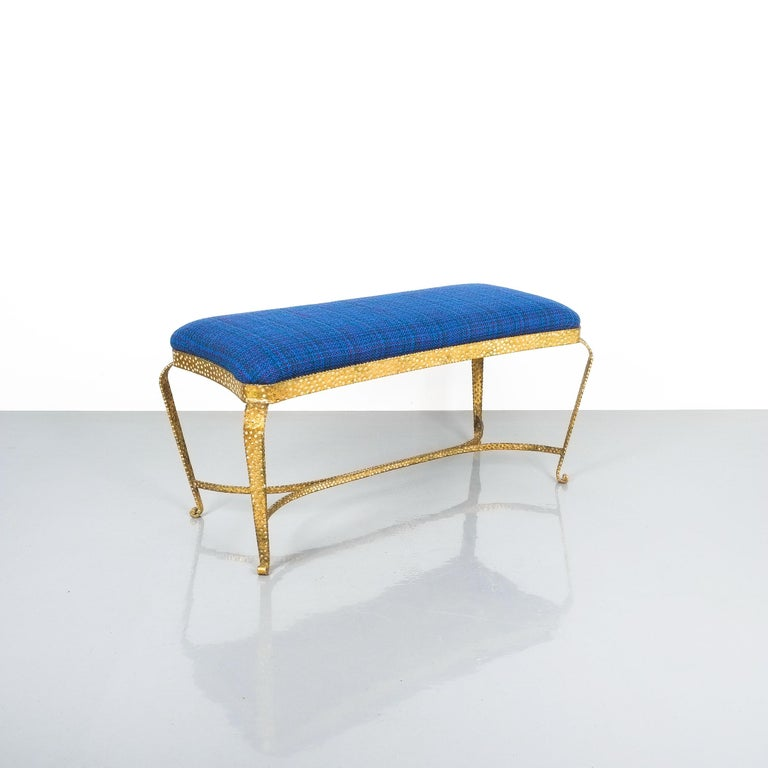 Pair of Golden Pier Luigi Colli Iron Bedroom Benches, Italy, 1950 For Sale 4