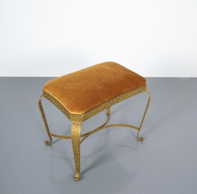 Fabric Pair of Golden Pier Luigi Colli Iron Bedroom Benches, Italy, 1950 For Sale