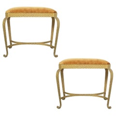 Pair of Golden Pier Luigi Colli Iron Bedroom Benches, Italy, 1950