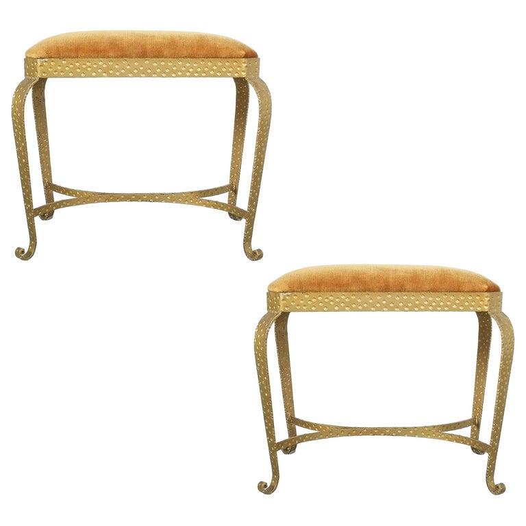 Pair of Golden Pier Luigi Colli Iron Bedroom Benches, Italy, 1950 For Sale