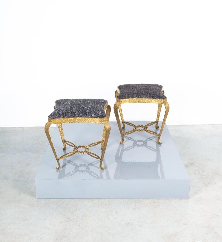 Pair of Golden Pier Luigi Colli Iron Bedroom Stools, Italy, 1950 In Good Condition For Sale In Vienna, AT