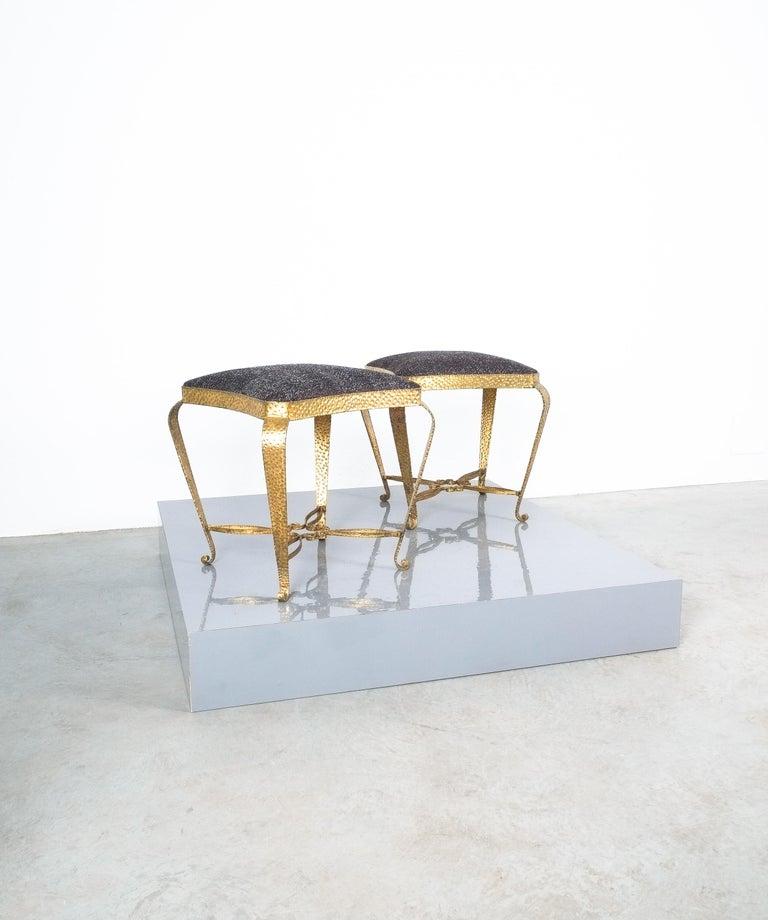 Fabric Pair of Golden Pier Luigi Colli Iron Bedroom Stools, Italy, 1950 For Sale