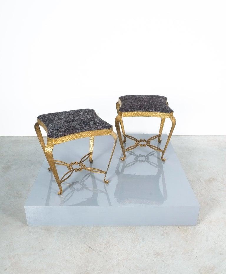 Pair of Golden Pier Luigi Colli Iron Bedroom Stools, Italy, 1950 For Sale 1