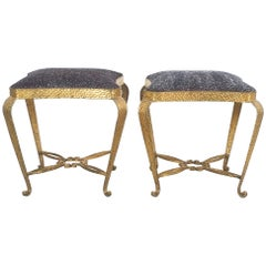Pair of Golden Pier Luigi Colli Iron Bedroom Stools, Italy, 1950