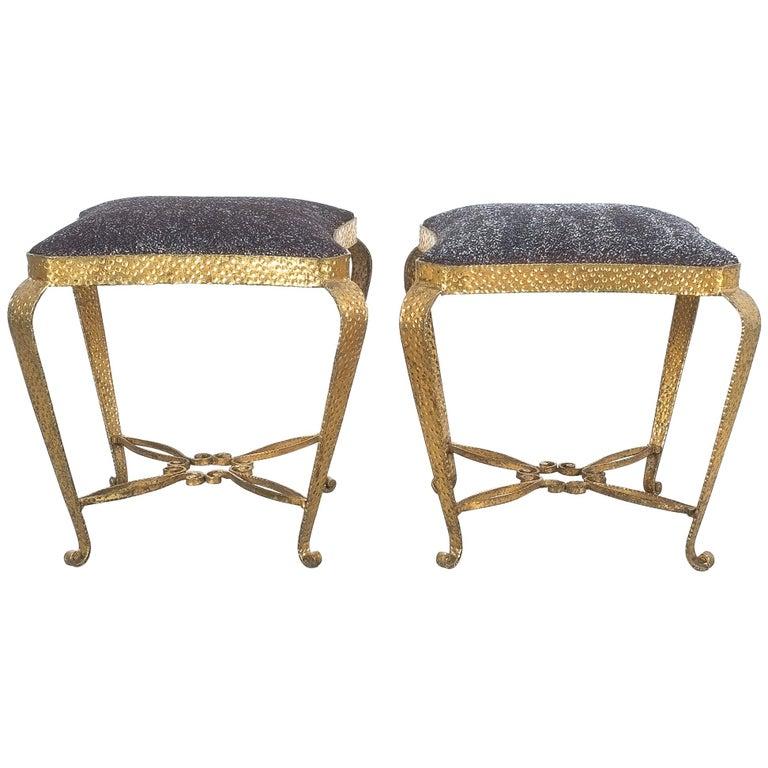 Pair of Golden Pier Luigi Colli Iron Bedroom Stools, Italy, 1950 For Sale
