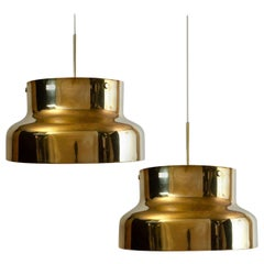 Pair of Golden Solid Brass Bumling by Anders Pehrson for Atelje Lyktan, 1960