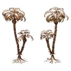Pair of Golden Two Trunk Palm Tree Lamp by Hans Kögl, 1970s