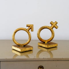 Pair of Goldleafed Cast Metal Bookends by Curtis Jere, 1970