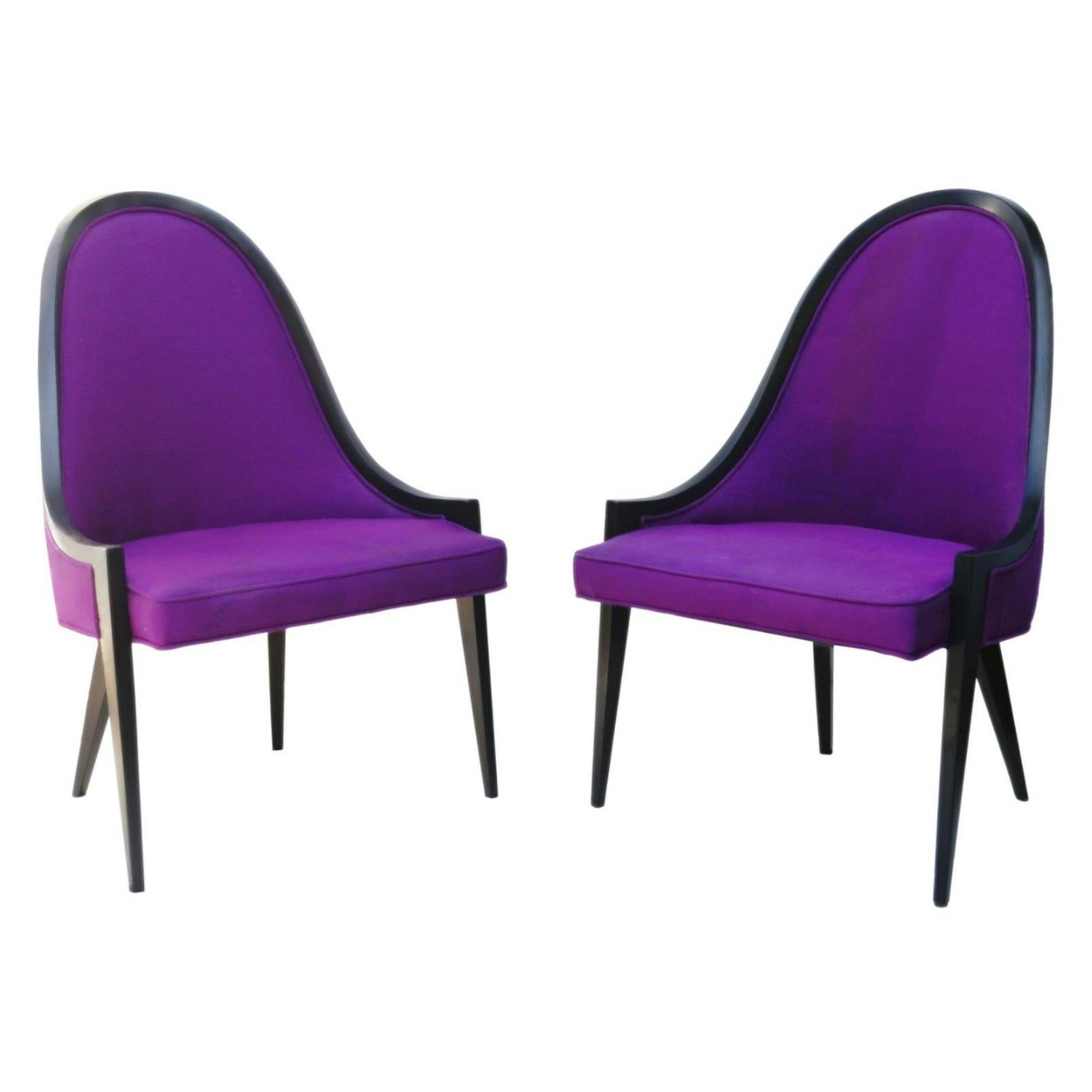 Pair of Gondola Lounge Arm Sculptural Side Chairs by Harvey Probber