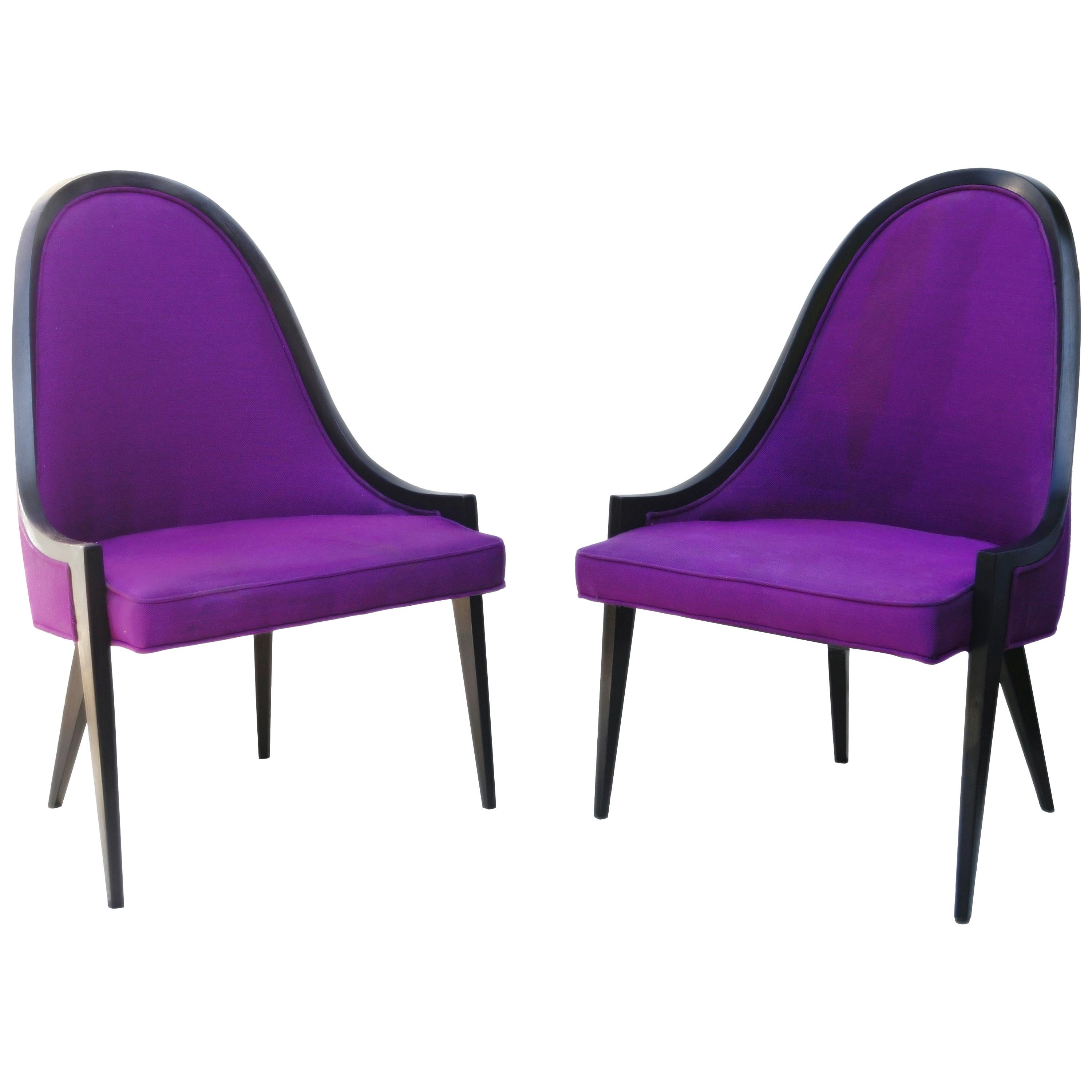 Pair of Gondola Lounge Arm Side Chairs by Harvey Probber