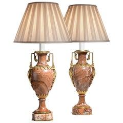 Pair of Good Napoleon III Rouge Marble Vases