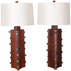 Pair of Gordon Martz Walnut and Bronze Lamps