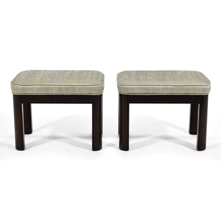 Hollywood Regency Pair of Gordon's Stools Upholstered in Silk For Sale