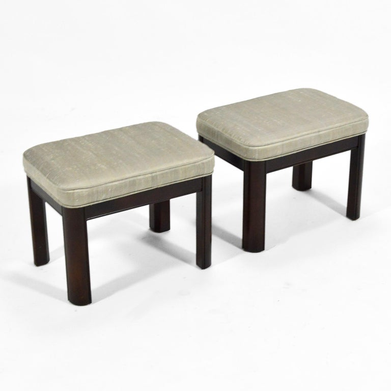 American Pair of Gordon's Stools Upholstered in Silk For Sale