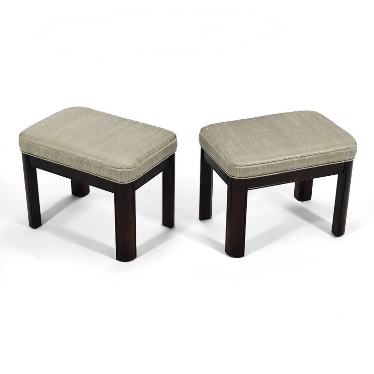 Pair of Gordon's Stools Upholstered in Silk In Good Condition For Sale In Highland, IN