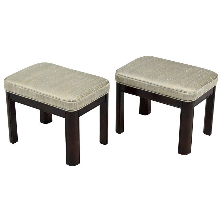Pair of Gordon's Stools Upholstered in Silk For Sale