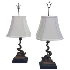 Pair of Gorgeous Bronze Lamps with Dolphins