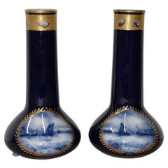 Pair of Gorgeous Cobalt Blue and Gilded A.P. & F. Limoges, France Vases