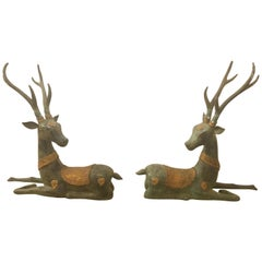 Pair of Gorgeous Patinated Bronze and Gilded Stag Sculptures