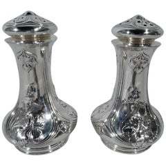 Pair of Gorham Art Nouveau Sterling Silver Salt and Pepper Shakers