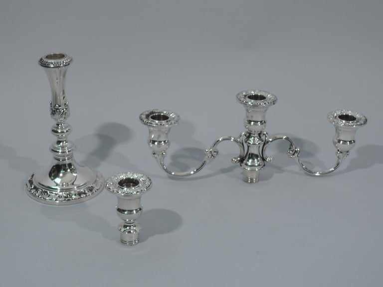 American Pair of Gorham Classical Sterling Silver 3-Light Candelabra For Sale