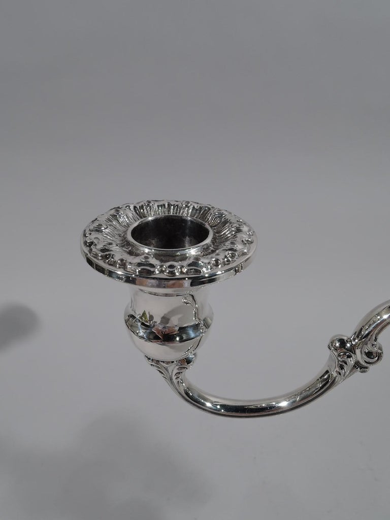 Pair of Gorham Classical Sterling Silver 3-Light Candelabra For Sale 2