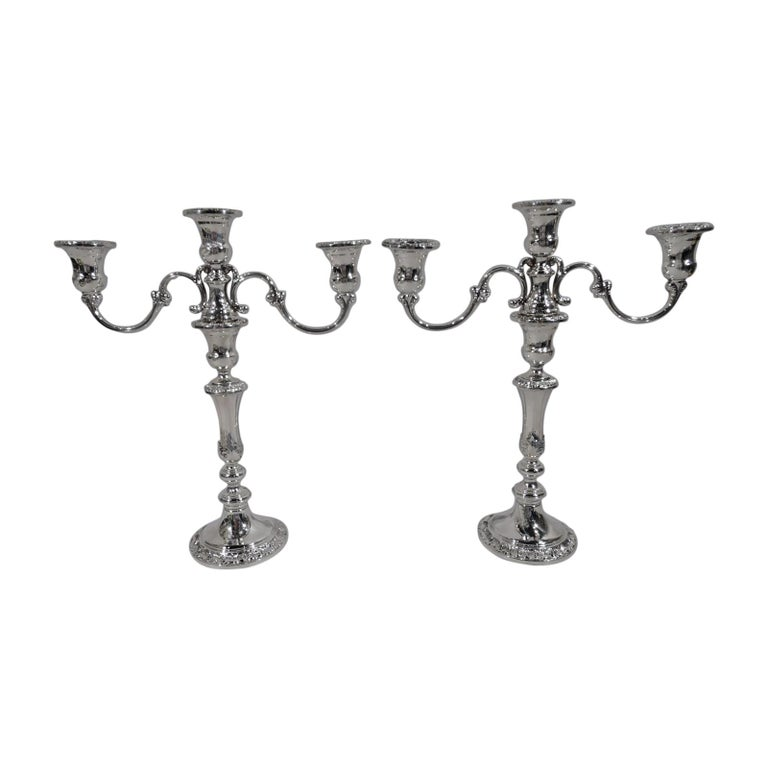 Pair of Gorham Classical Sterling Silver 3-Light Candelabra For Sale