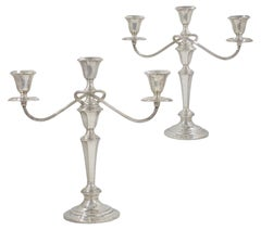 Pair of Gorham Co. Weighted Sterling Silver Twisted-Stem 3-Light Candelabra