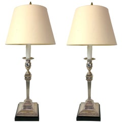 Pair of Gorham Georgian Style Sterling Candlesticks, Now as Lamps