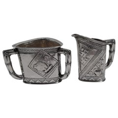 Pair of Gorham Japonesque Sterling Silver Creamer and Sugar
