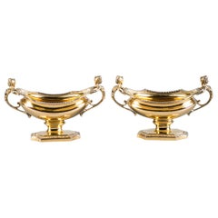 Pair of Gorham Sterling Silver-Gilt Salt Cellars, Early 20th Century