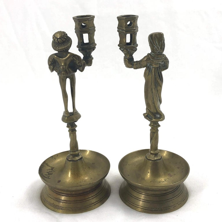 Pair of Gothic Candlesticks In Fair Condition For Sale In New York, NY
