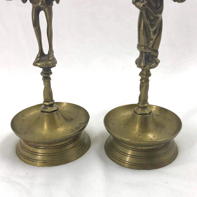 19th Century Pair of Gothic Candlesticks For Sale