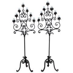 Pair of Gothic Hand Forged Floor Lamps
