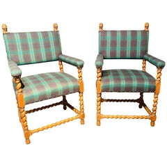 Pair of Gothic Lion Head and Spiral Posts Armchairs with Plaid Upholstery