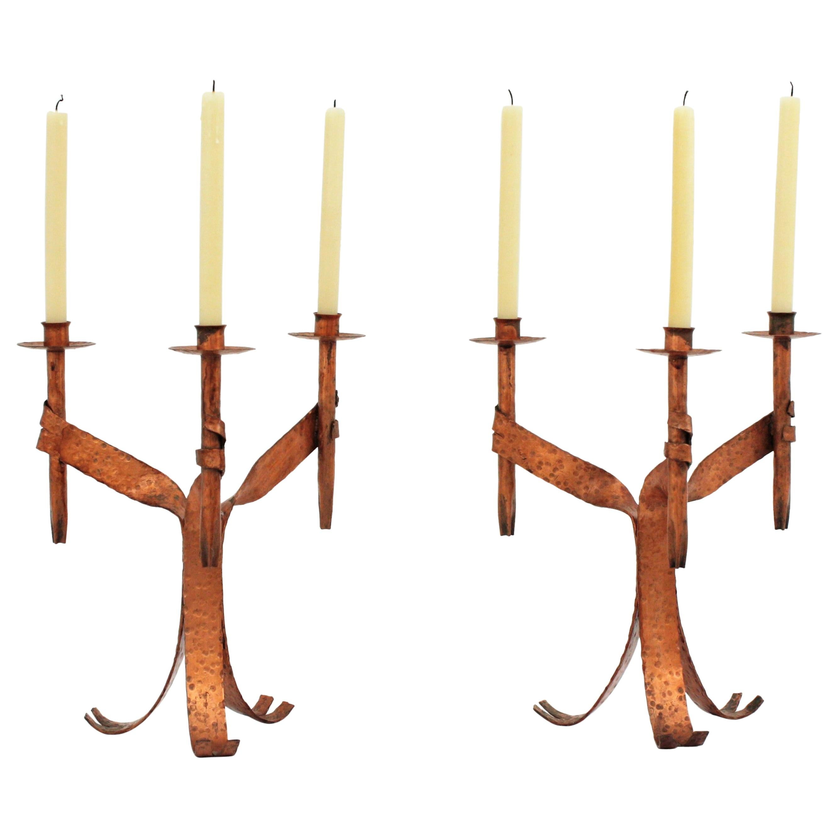Pair of Gothic Revival Candleholders in Copper Wrought Iron