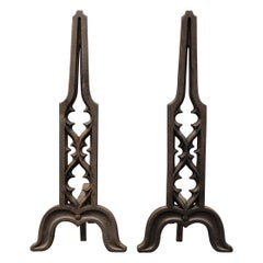 Pair of Gothic Revival Cast Iron Firedogs