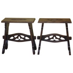 Pair of Gothic Revival End Tables or Stools, C1880