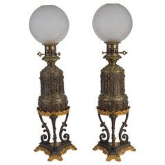 Pair of Gothic Revival Gilt and Patinated Bronze Oil Lamps