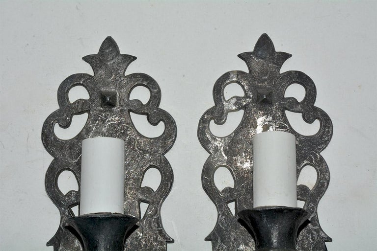 Gothic Revival Pair of Gothic Style Antique Cast Iron Sconces For Sale