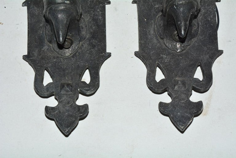 American Pair of Gothic Style Antique Cast Iron Sconces For Sale