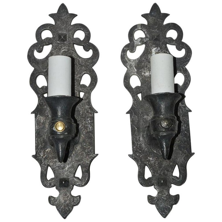Pair of Gothic Style Antique Cast Iron Sconces For Sale
