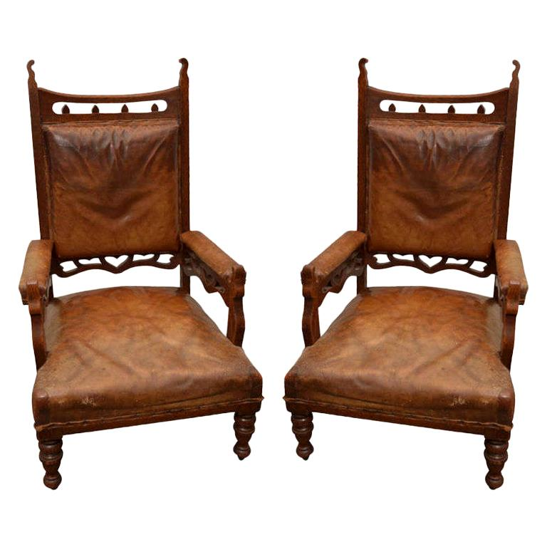 Pair of Gothic Style Brown Leather and Oak Armchairs For Sale