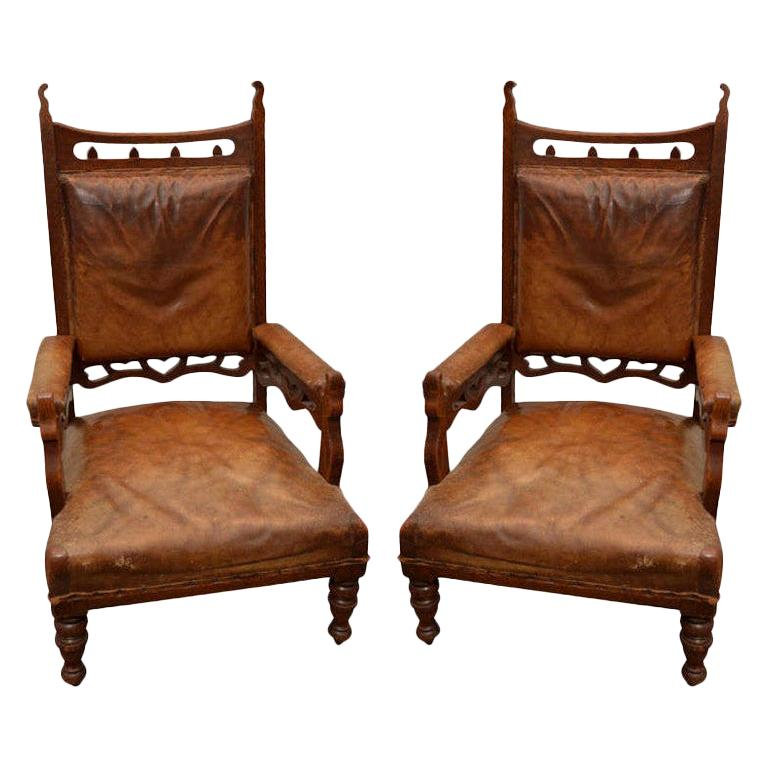 Pair of 19th Century Gothic-Style Brown Leather and Oak Armchairs, England  For Sale