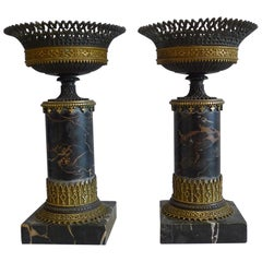 Pair of Gothic Urns in Ormolu, Patinated Bronze and Marble